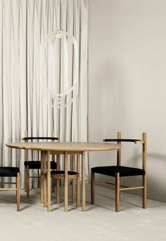 Soren Dining Table in Matte White Oak and Black Leather In New Condition For Sale In Brooklyn, NY