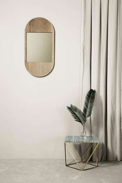 Modern June Mirror, Small in Carved White Oak and Bronze Mirror For Sale