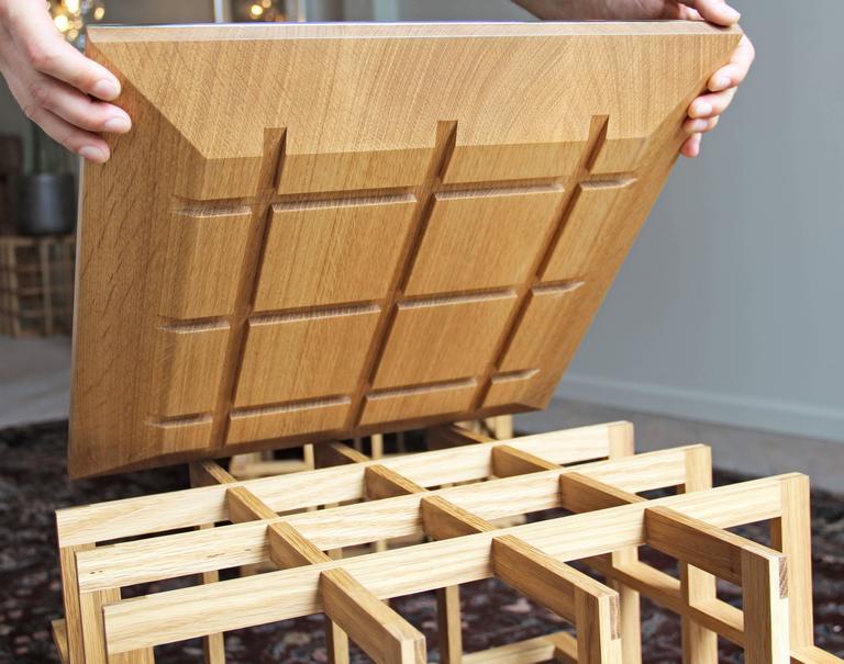 Quadrat Cube 20 Side Table in White Oak by Pelle 4