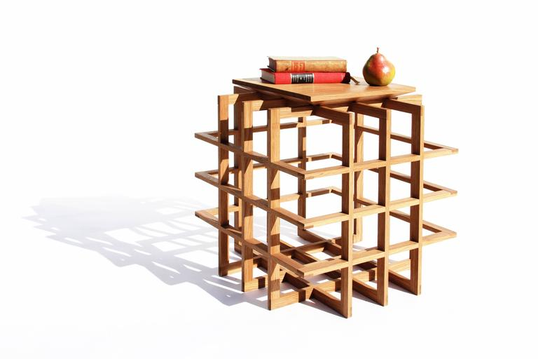 Quadrat Cube 20 Side Table in White Oak by Pelle 5