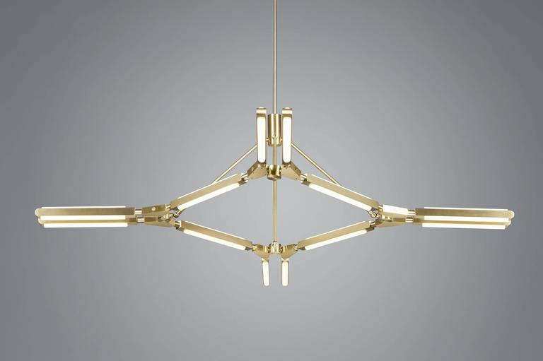 Pris Major Chandelier in Satin Brass by PELLE In New Condition For Sale In Brooklyn, NY
