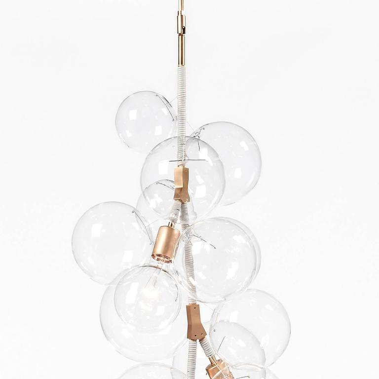 X Tall Bubble Chandelier in Cream Leather and Satin Brass