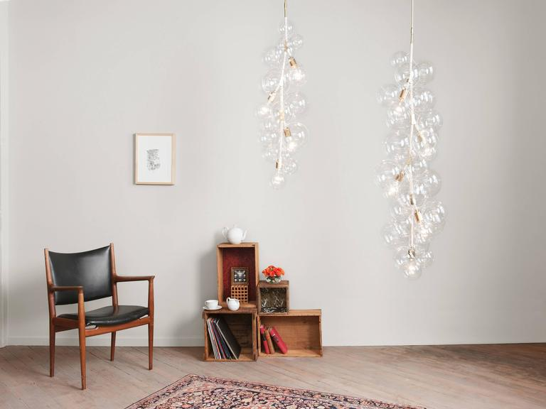 Contemporary X-Tall Bubble Chandelier in White Leather and Satin Brass by PELLE For Sale