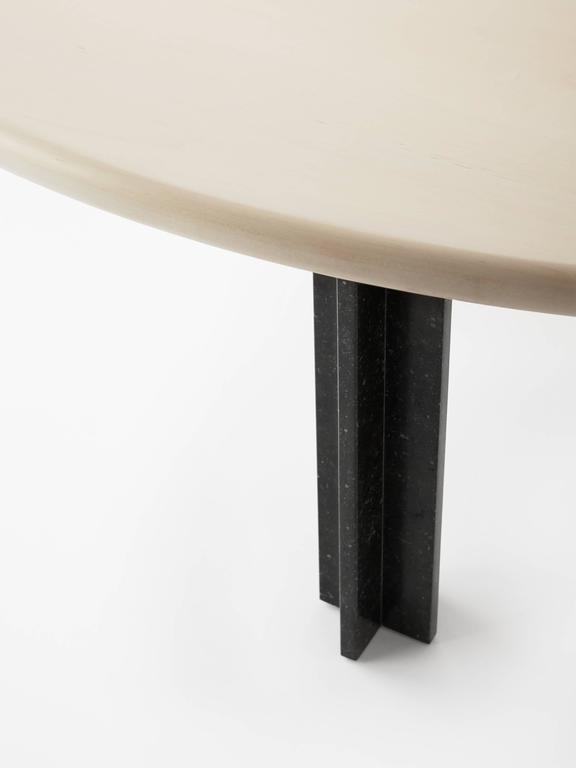 American Egsu Dining Table in Bleached Maple and Petite Granite Limestone by Pelle For Sale