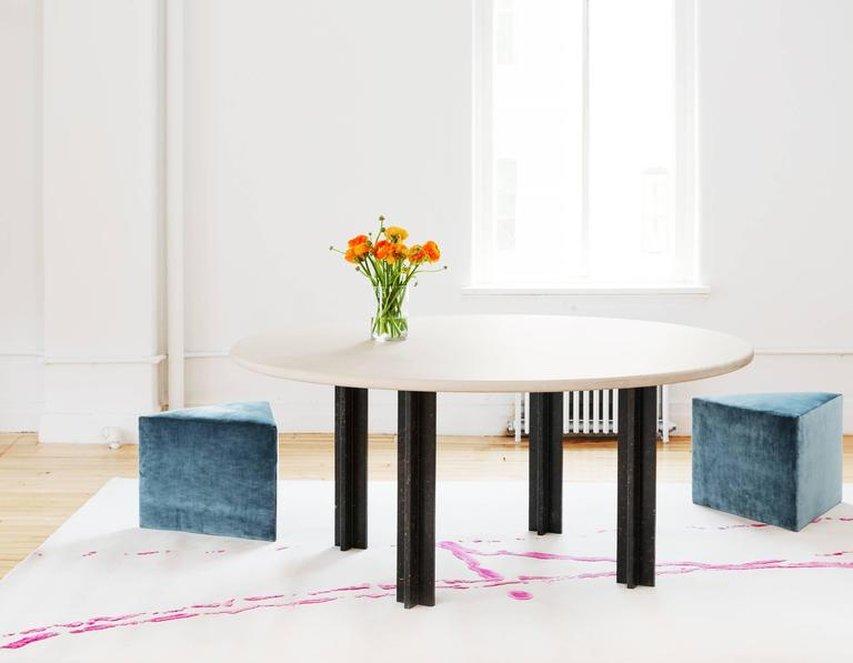 Contemporary Egsu Dining Table in Bleached Maple and Petite Granite Limestone by Pelle For Sale