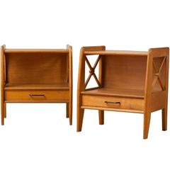 Pair of Side Tables in Solid Oak, circa 1950