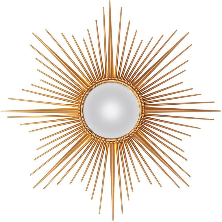 Sunburst mirror with convex glass by chaty vallauris for Chaty vallauris miroir
