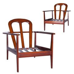 Pair of Danish Armchairs In Mahogany with Original Cushions, circa 1960