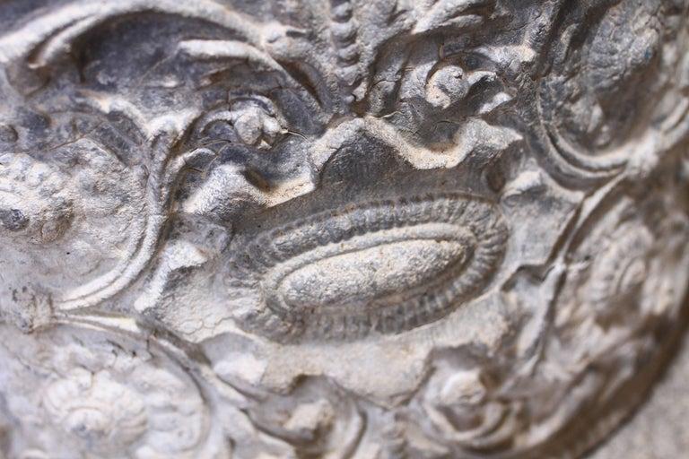 19th Century English Lead Planter with Renaissance Cartouche Relief Design For Sale 2