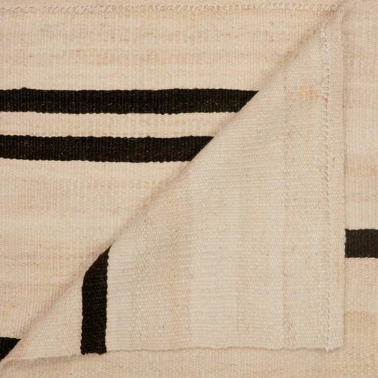 Kilim Rug Cream: Cream And Brown Heavy Wool Kilim Rug For Sale At 1stdibs