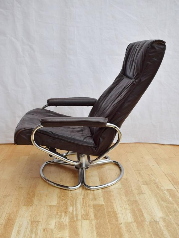 Mid Century Retro Danish Brown Leather Kebe Swivel