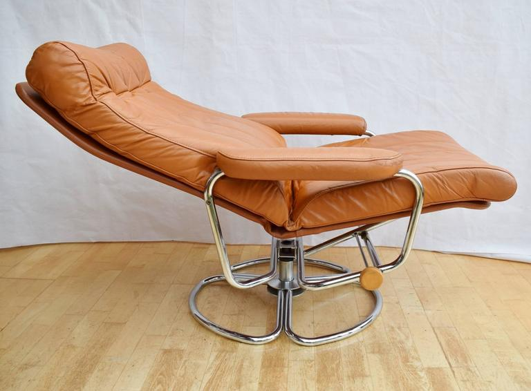Mid Century Danish Tan Leather Skippers Mobler Swivel