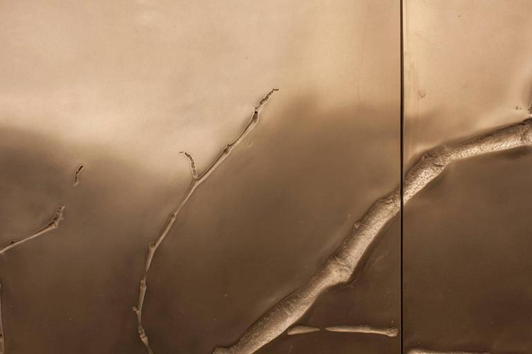 Molded 'Ghosted Branches I' Custom Contemporary Bronze Panels One-Sided Triptych For Sale