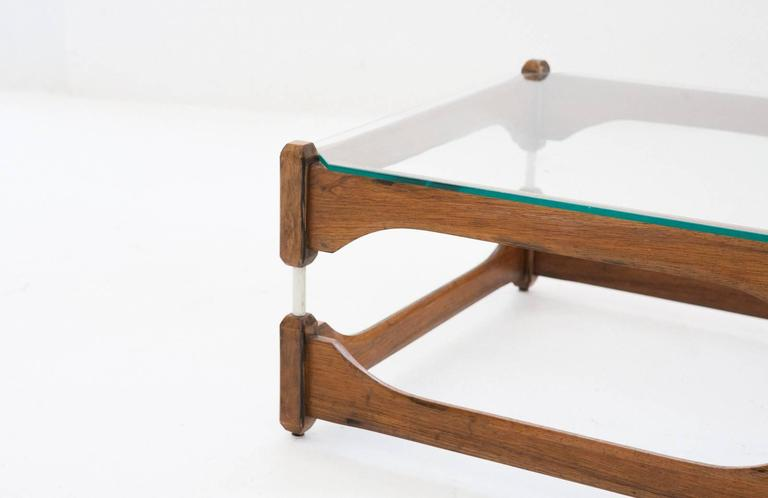 Italian Mid-Century Modern Wood and Glass Low Coffee Table ...