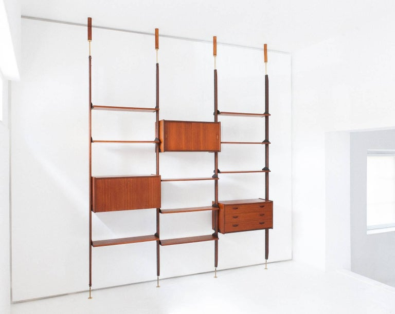 Mid-Century Modern Italian Teak and Brass Floor to Ceiling Wall Unit -Bookshelf, 1950s  For Sale