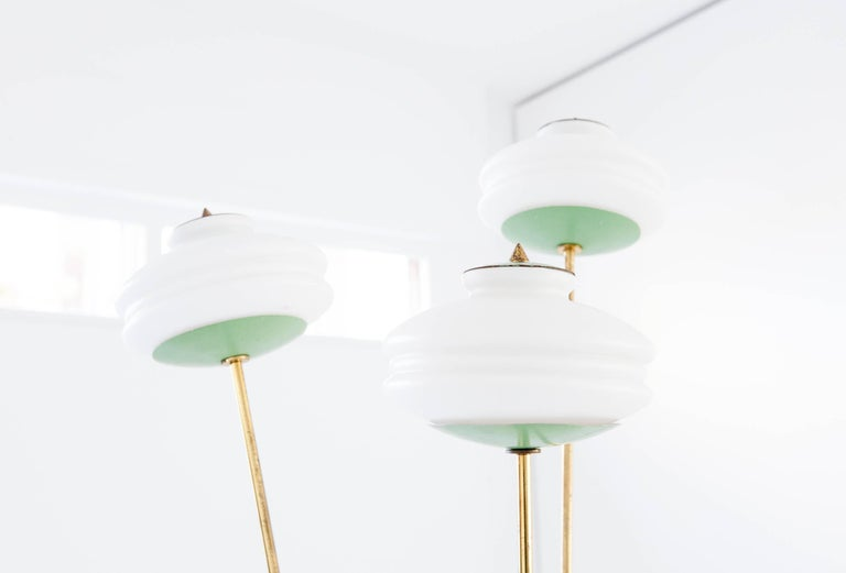Mid-20th Century Italian Mid-Century Modern Brass and Opaline Glass Floor or Base Lamp, 1950s For Sale