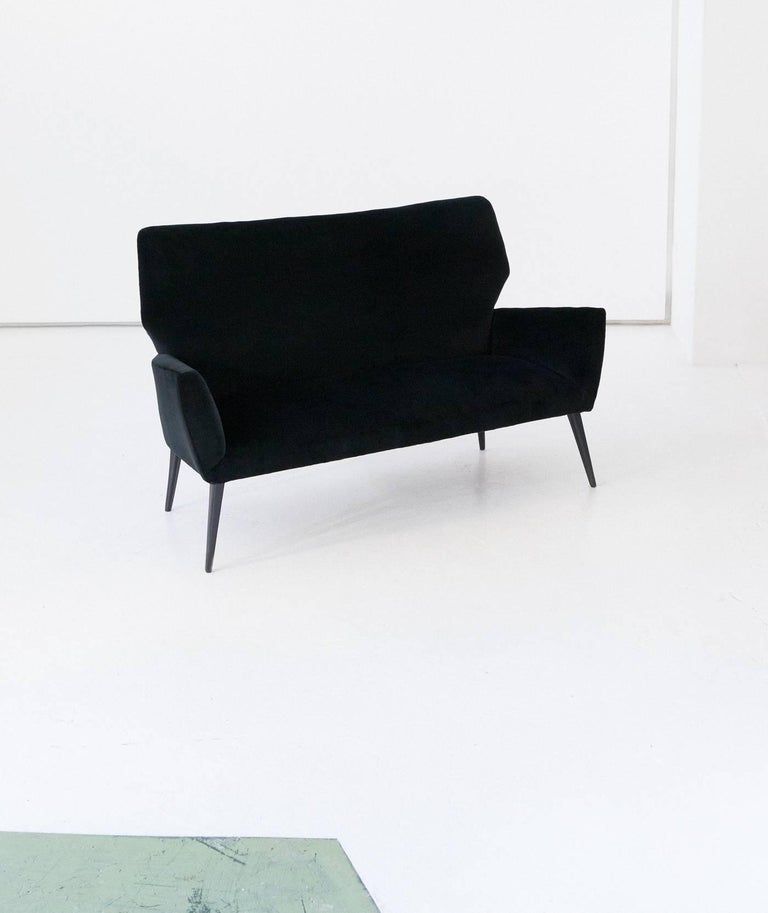 Black Mid Century Modern Sofas: Italian Mid-Century Modern Sofa With New Black Velvet