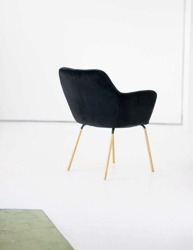 Mid-Century Modern Gio Ponti for Arflex Pair of Airone Black Velvet Armchairs, 1950s Dining Chairs For Sale