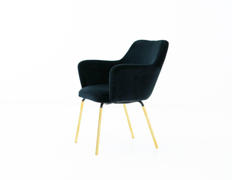 Gio Ponti for Arflex Pair of Airone Black Velvet Armchairs, 1950s Dining Chairs In Excellent Condition For Sale In Rome, IT