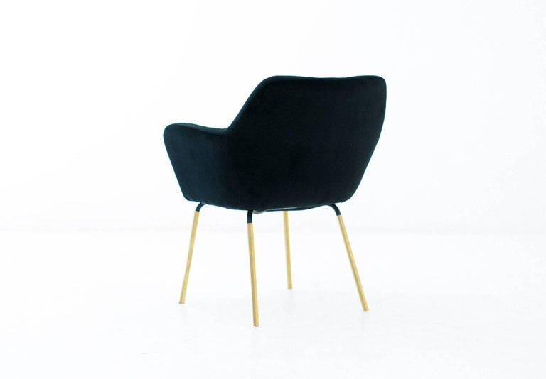 Brass Gio Ponti for Arflex Pair of Airone Black Velvet Armchairs, 1950s Dining Chairs For Sale