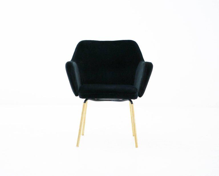 Gio Ponti for Arflex Pair of Airone Black Velvet Armchairs, 1950s Dining Chairs For Sale 2
