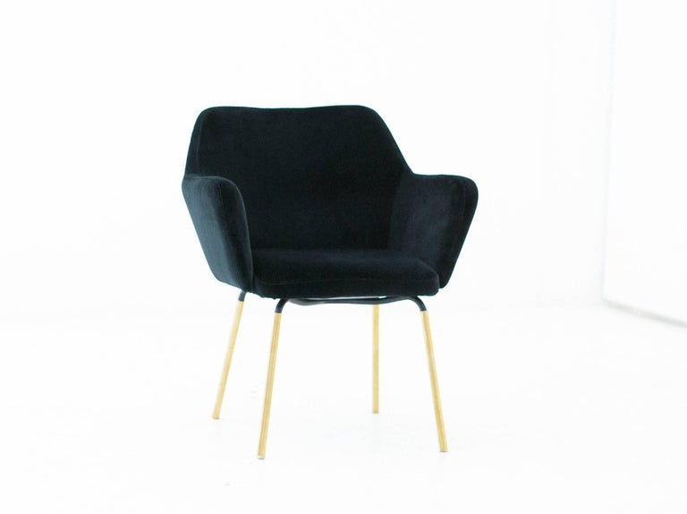 Gio Ponti for Arflex Pair of Airone Black Velvet Armchairs, 1950s Dining Chairs For Sale 3