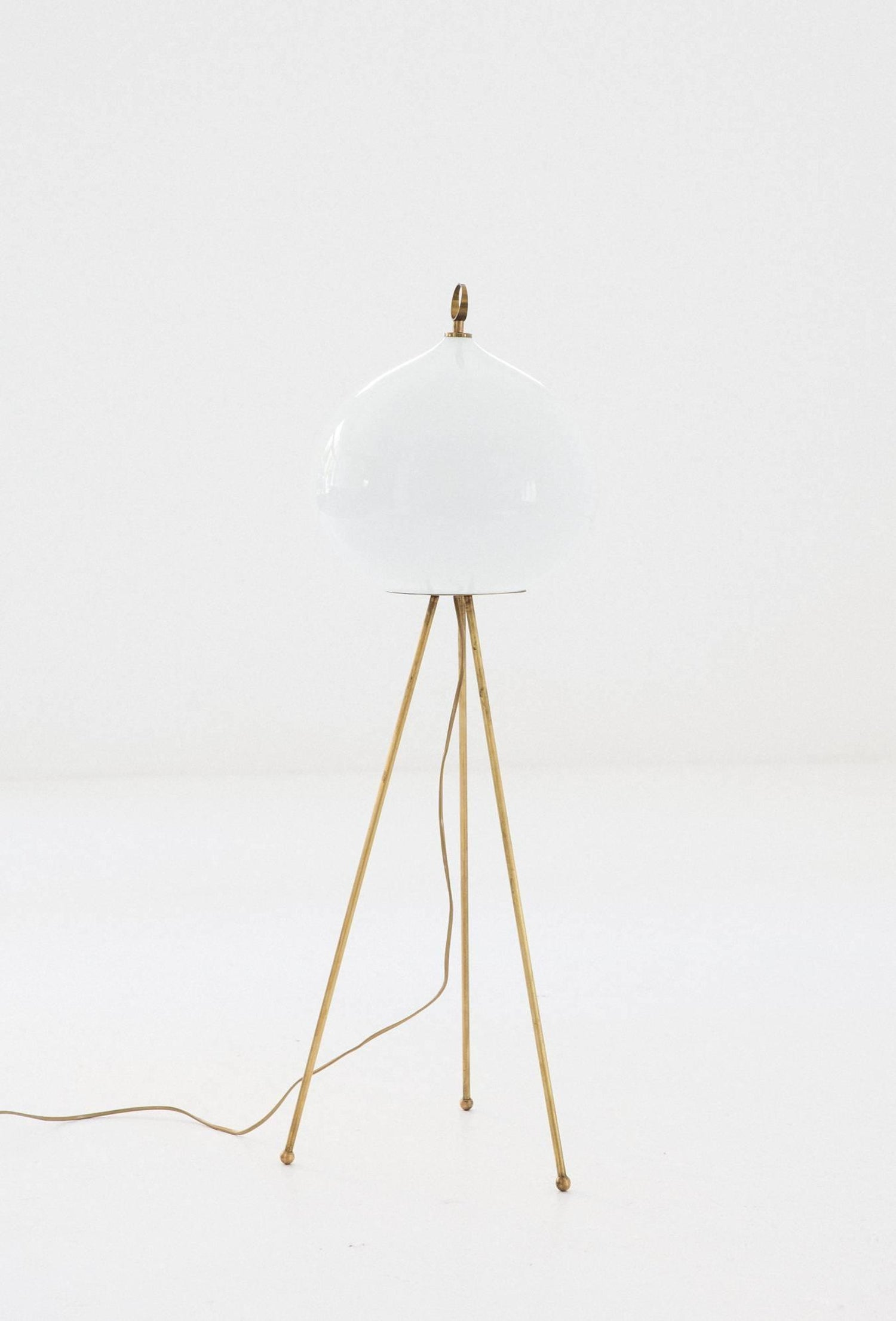 Italian Mid Century Modern Brass And Opaline Glass Floor Tripode Lamp,