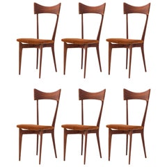 Six Italian Dining Chairs in Natural Leather and Mahogany by Ico Parisi, 1950s