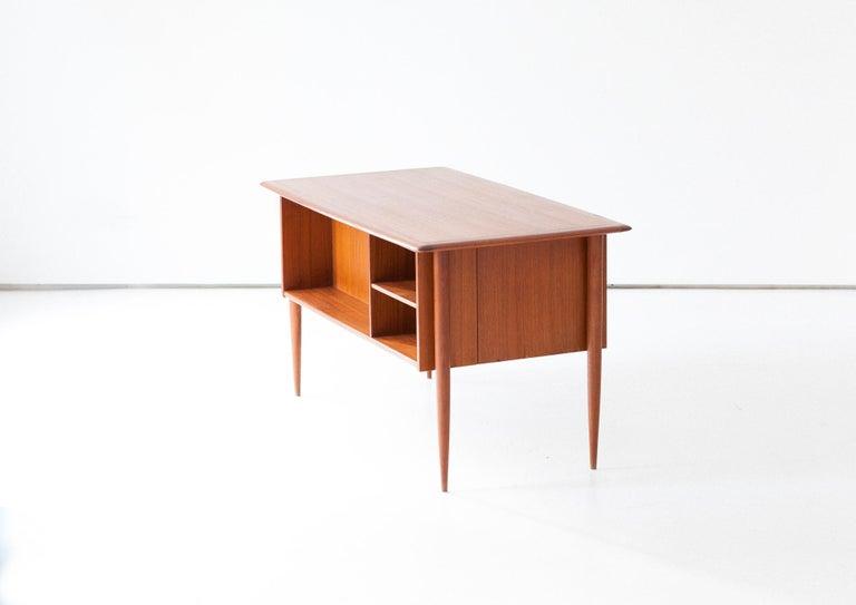 Brass Fully Restored Danish Mid-Century Modern Teak Day Desk, 1950s For Sale