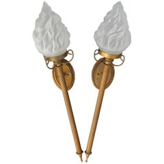 Pair of Torchere Wall Lights French Flame Glass Shades Sconces, circa 1910