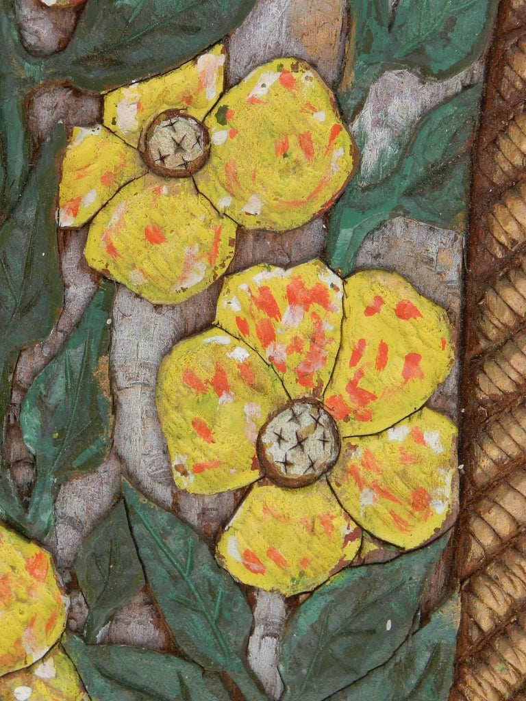 Carved Wood Wall Plaque Flowers Signed Relief Painted Floral Basket ...