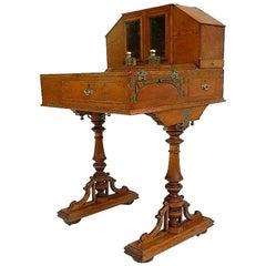 Campaign Desk Davenport Honey Oak Original Inkwells, circa 1910