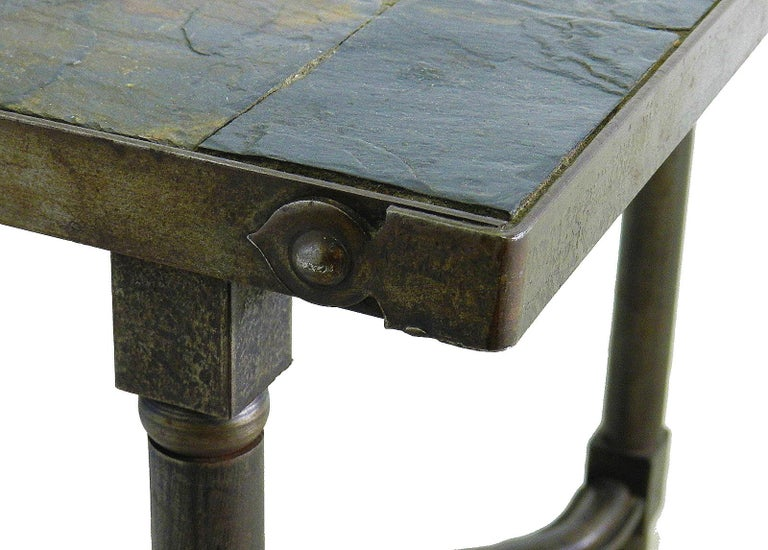 Jacques Adnet Stone Top Coffee Table French Midcentury Variegated Textured Ardoise Slate Lovely Colors