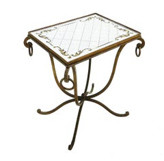 French Mirrored Table Wrought Iron Manner of Rene Drouet Art Deco