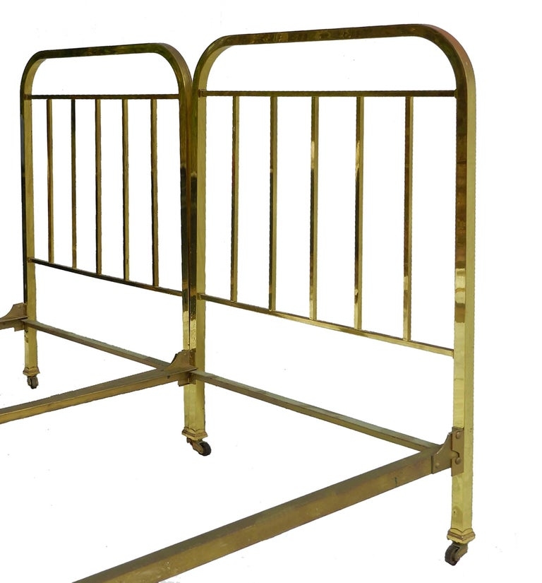 Pair Of Art Deco Brass Beds French Single Twin Circa 1930 With