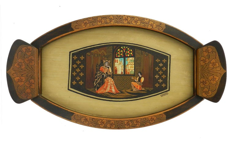 French Arts & Crafts Tray Signed Germonde Art Deco One of a Kind Painted Pyrogravure For Sale