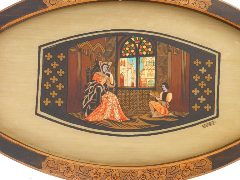 Arts & Crafts tray signed Germonde Art Deco one of a kind French painted Pyrogravure. Medieval revival William Morris Era and Gothic revival Germonde was a quite a prolific French painter through this period his signature is often found on other