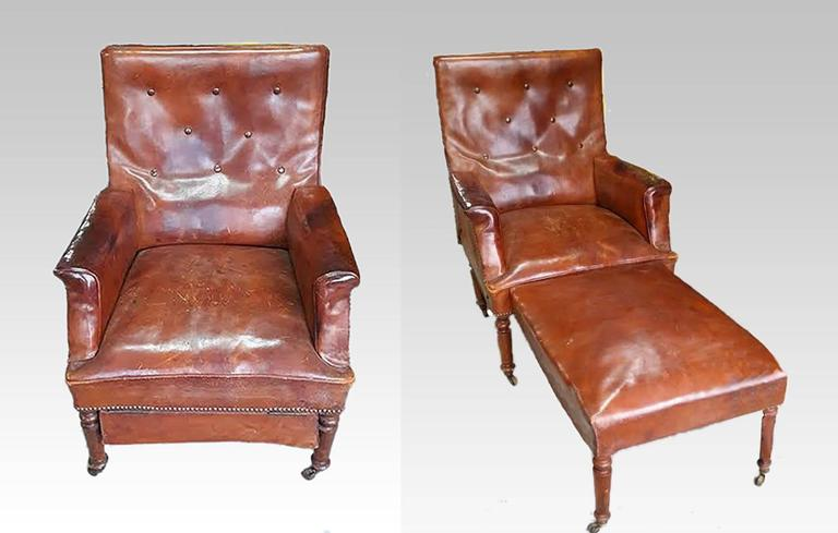 French Leather Club Chair Reclining Armchair Recliner ...