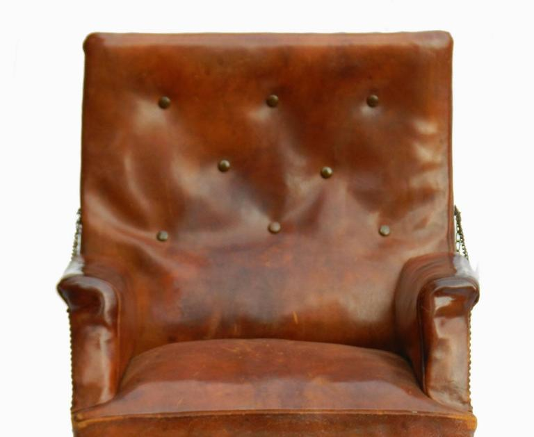 20th Century French Leather Club Chair Reclining Armchair Recliner Circa 1920 For