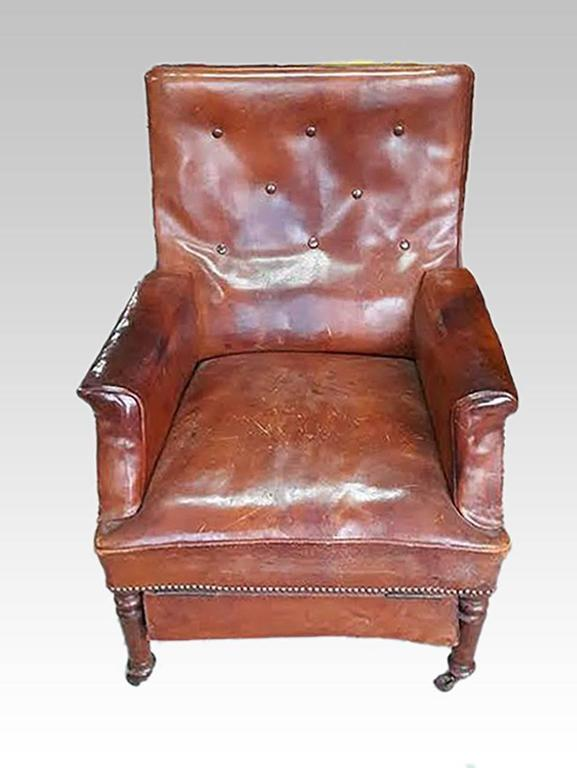 Tremendous French Leather Club Chair Reclining Armchair Recliner Circa Machost Co Dining Chair Design Ideas Machostcouk