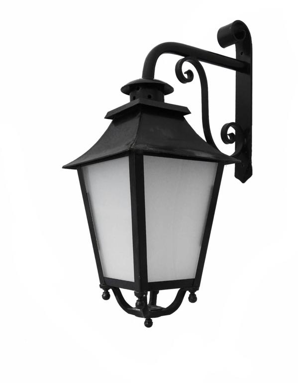 Outdoor Lantern Exterior Porch Wall Light Wrought Iron Glass At 1stdibs
