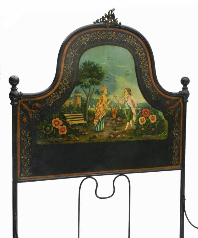 French Antique Bed epoque Napoleon III painted Iron Tole Inlaid mother-of-pearl  This bed will take a 4 foot wide mattress resting on wooden slats or box spring divan base, please ask for more info if required There are bars across the bed for the
