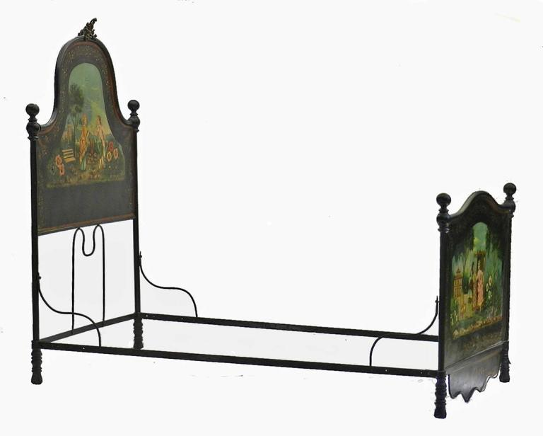 French Bed Daybed Napoleon III Hand Painted Tole Iron Epoque Mother of Pearl In Good Condition For Sale In France, GB
