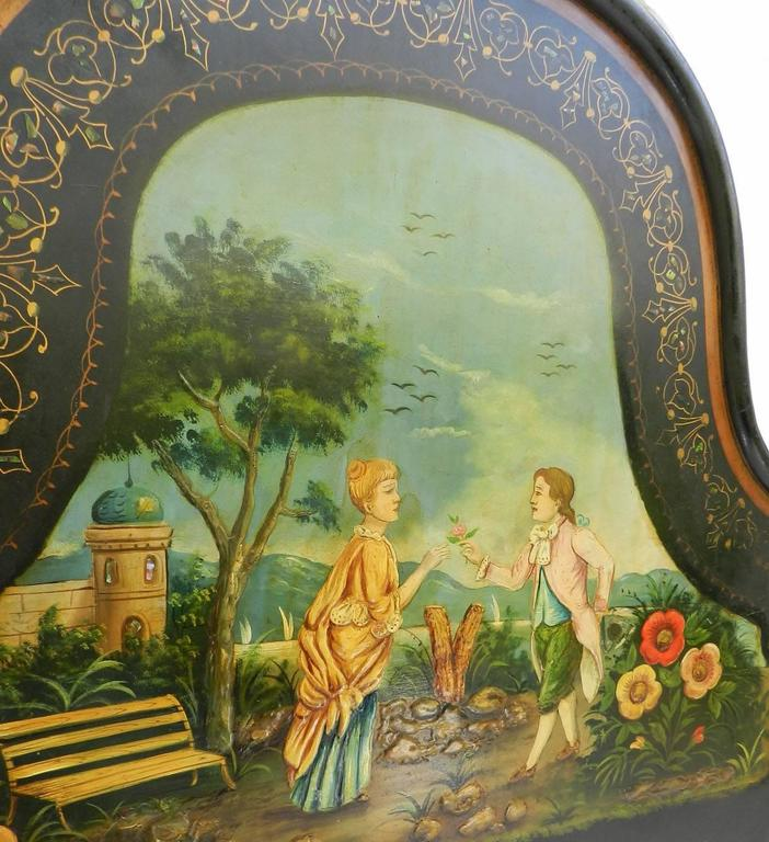 Mid-19th Century French Bed Daybed Napoleon III Hand Painted Tole Iron Epoque Mother of Pearl For Sale