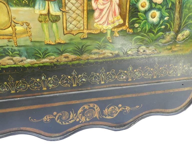 French Bed Daybed Napoleon III Hand Painted Tole Iron Epoque Mother of Pearl For Sale 2