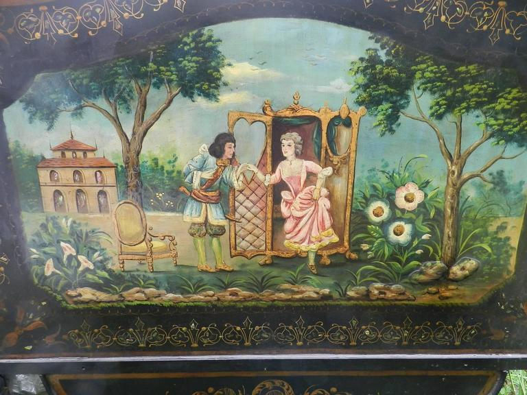 French Bed Daybed Napoleon III Hand Painted Tole Iron Epoque Mother of Pearl For Sale 3