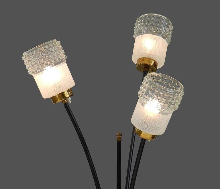 Melrose Mid Century Brass White Shade Floor Lamp: Mid-Century Floor Lamp Original Bubble Glass Shades, 1950