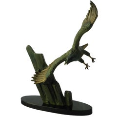 Art Deco Eagle in Flight by Rulas Signed Sculpture on Marble Base Animalia