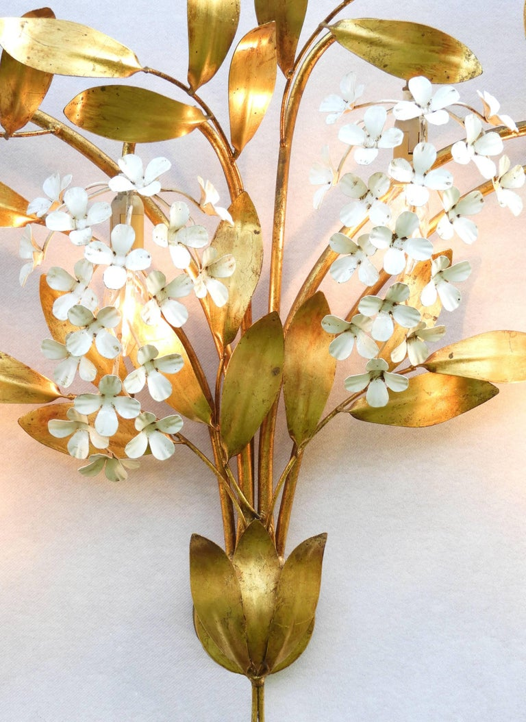 Midcentury Wall Light Large Sconce Maison Bagues Floral Tole For Sale at 1stdibs
