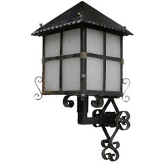 French Lantern Wall Light Outdoor Sconce Wrought Iron and Glass Exterior Porch